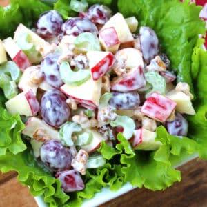 waldorf salad recipe best classic apples grapes walnuts mayonnaise