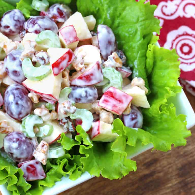 waldorf salad recipe best classic grapes apples walnuts celery mayonnaise