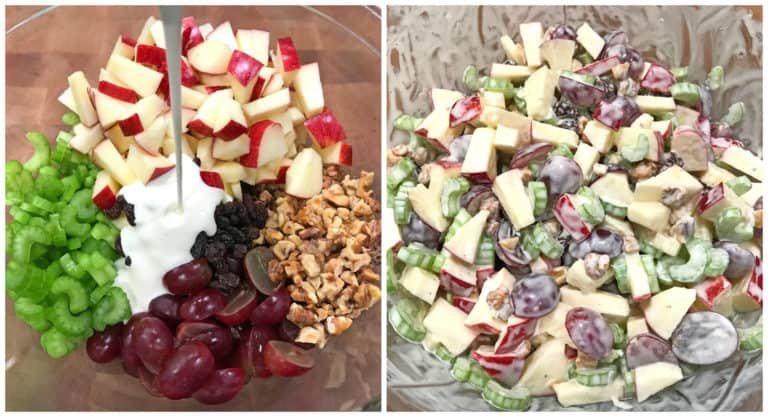 apples, celery, walnuts, grapes, raisins mixed with a mayonnaise dressing