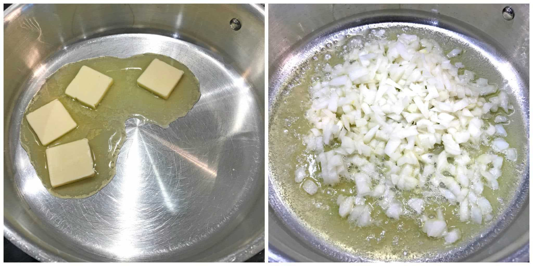 melting butter cooking onions