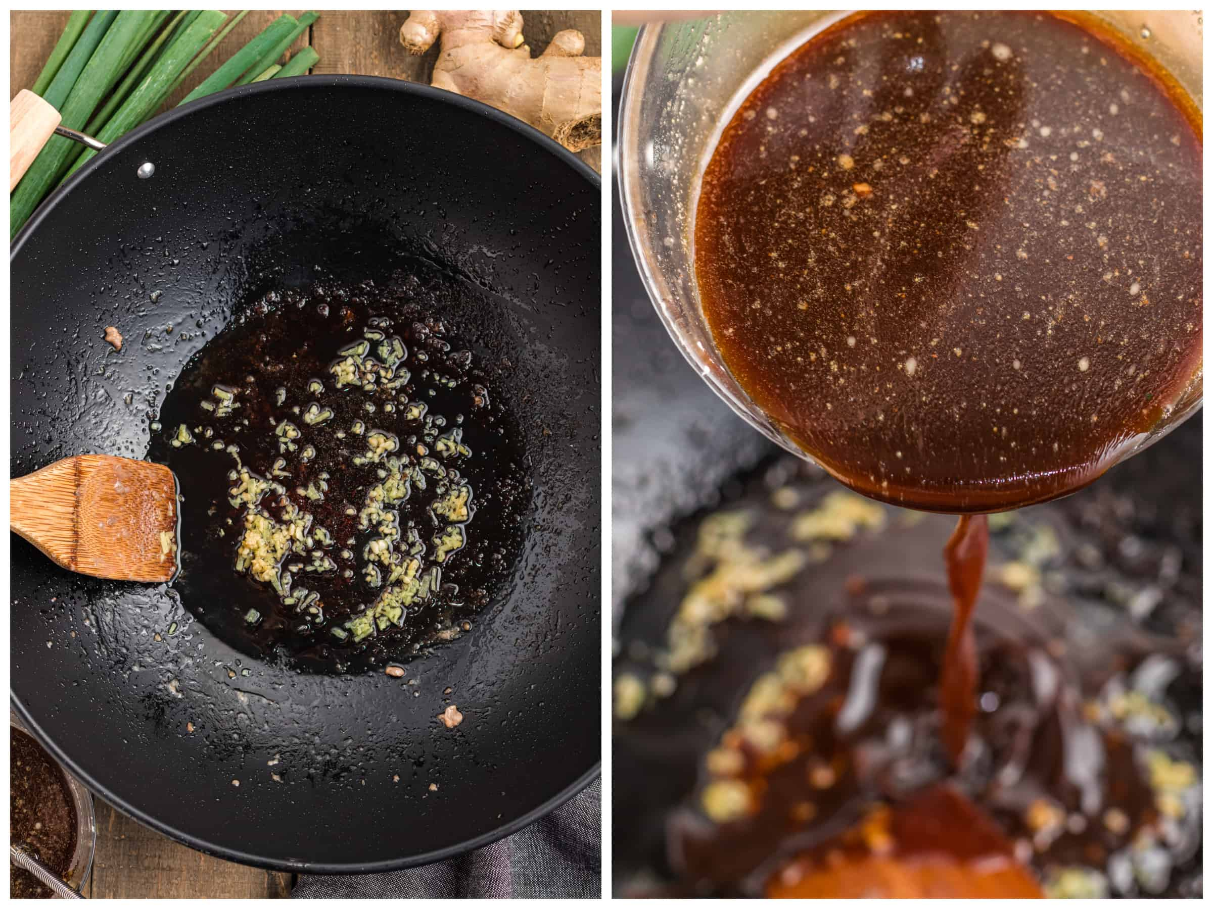 pouring sauce in pan
