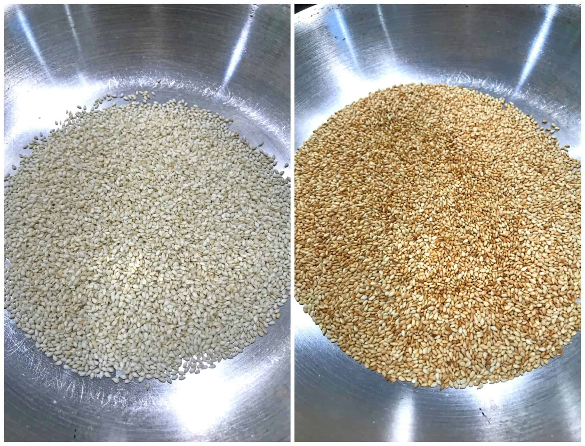 toasting sesame seeds