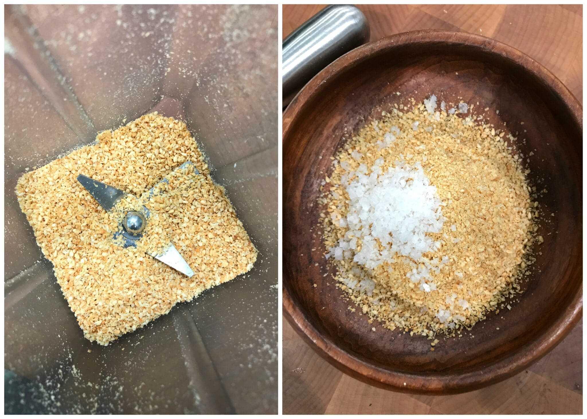 grinding sesame seeds and stirring in salt