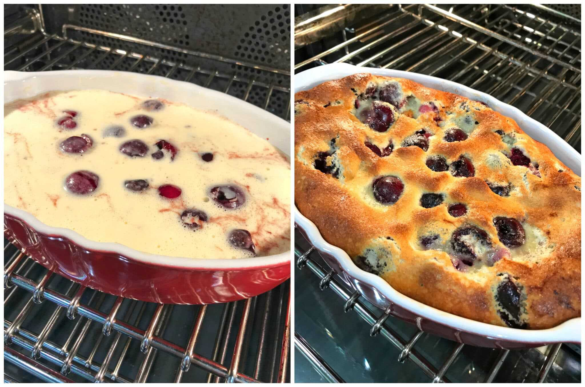 baking cherry clafoutis in oven