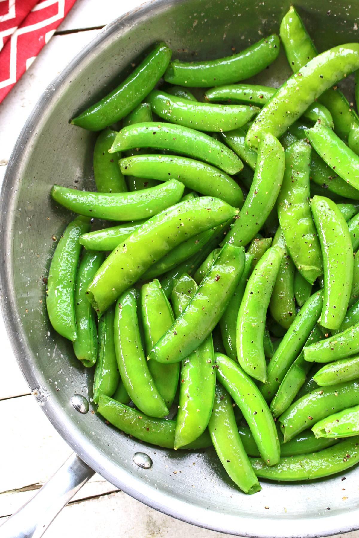 sauteed snap peas recipe sweet sugar fresh olive oil