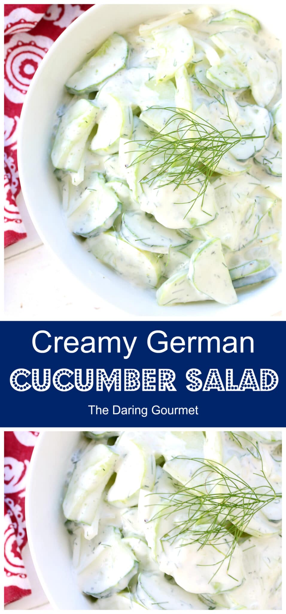 german cucumber salad recipe creamy sour cream dill onions herbs