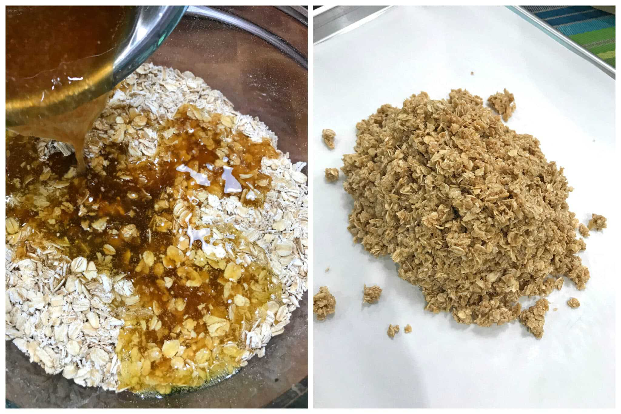pour sugar mixture over oats and place on lined baking sheet