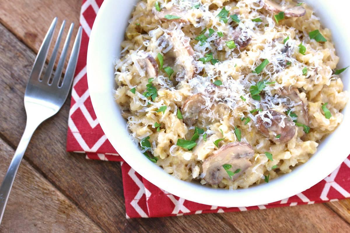 mushroom risotto recipe leek onions parmesan white wine Aneto broth