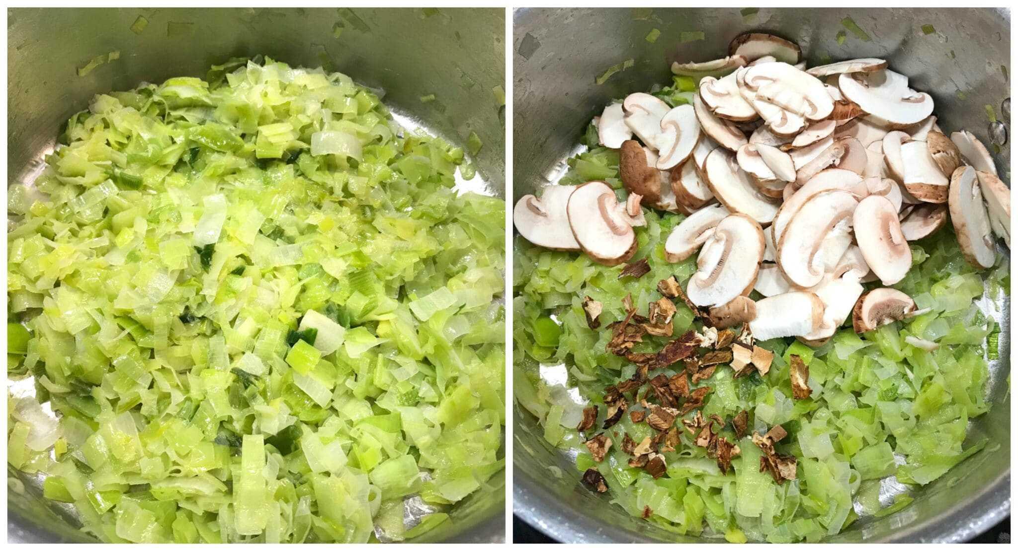 cooking leek and mushrooms in pan