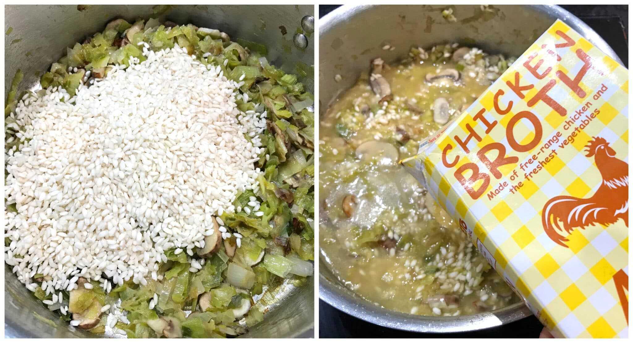 adding rice and broth