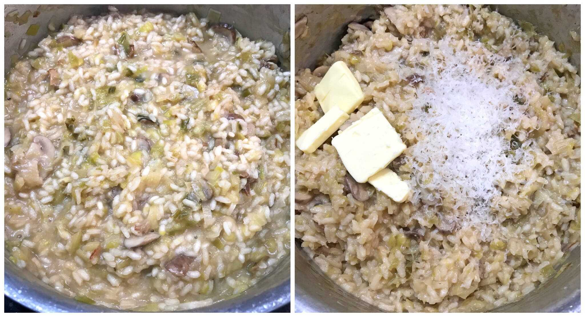 adding butter and parmesan cheese