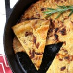 socca recipe authentic traditional chickpea garbanzo bean flatbread pancake pepper caramelized onions Nice France Provence farinata