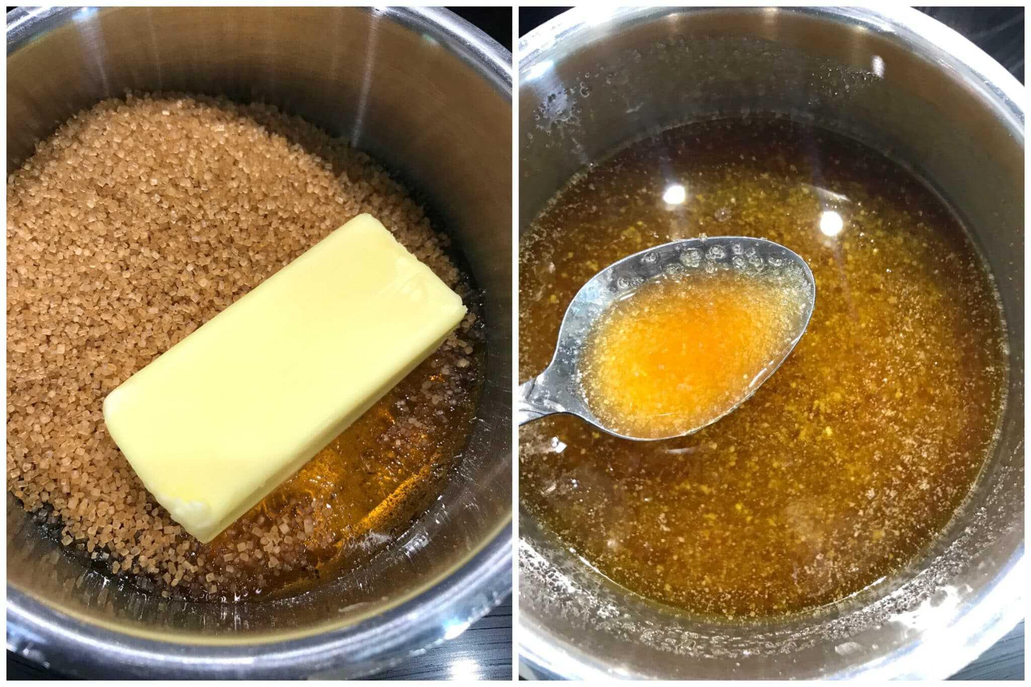 melt butter and demerara sugar