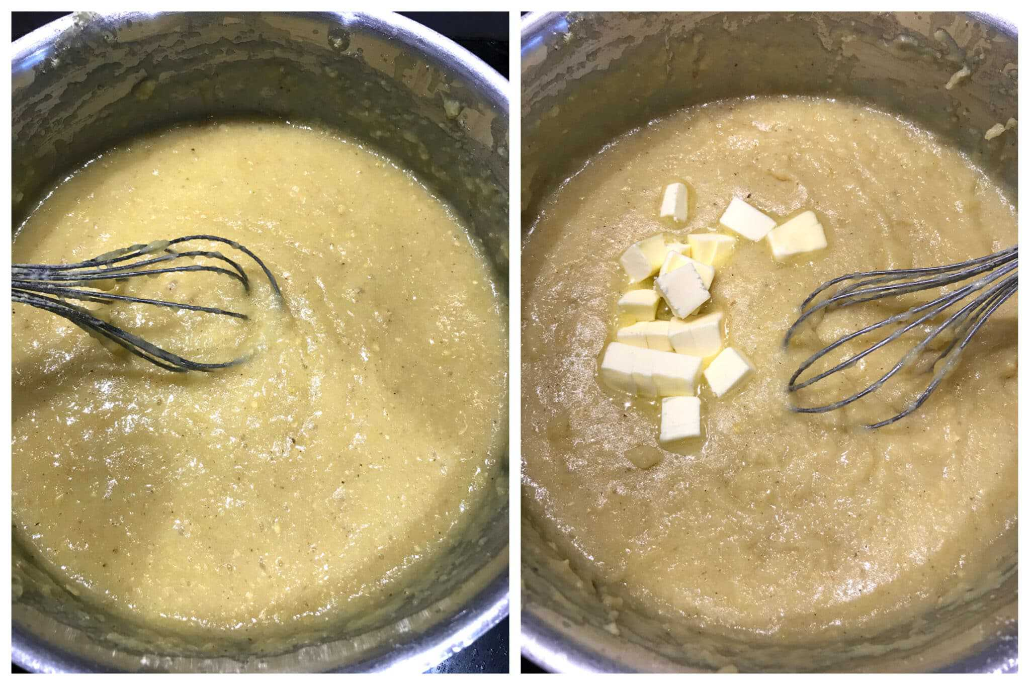 stirring the batter and adding butter