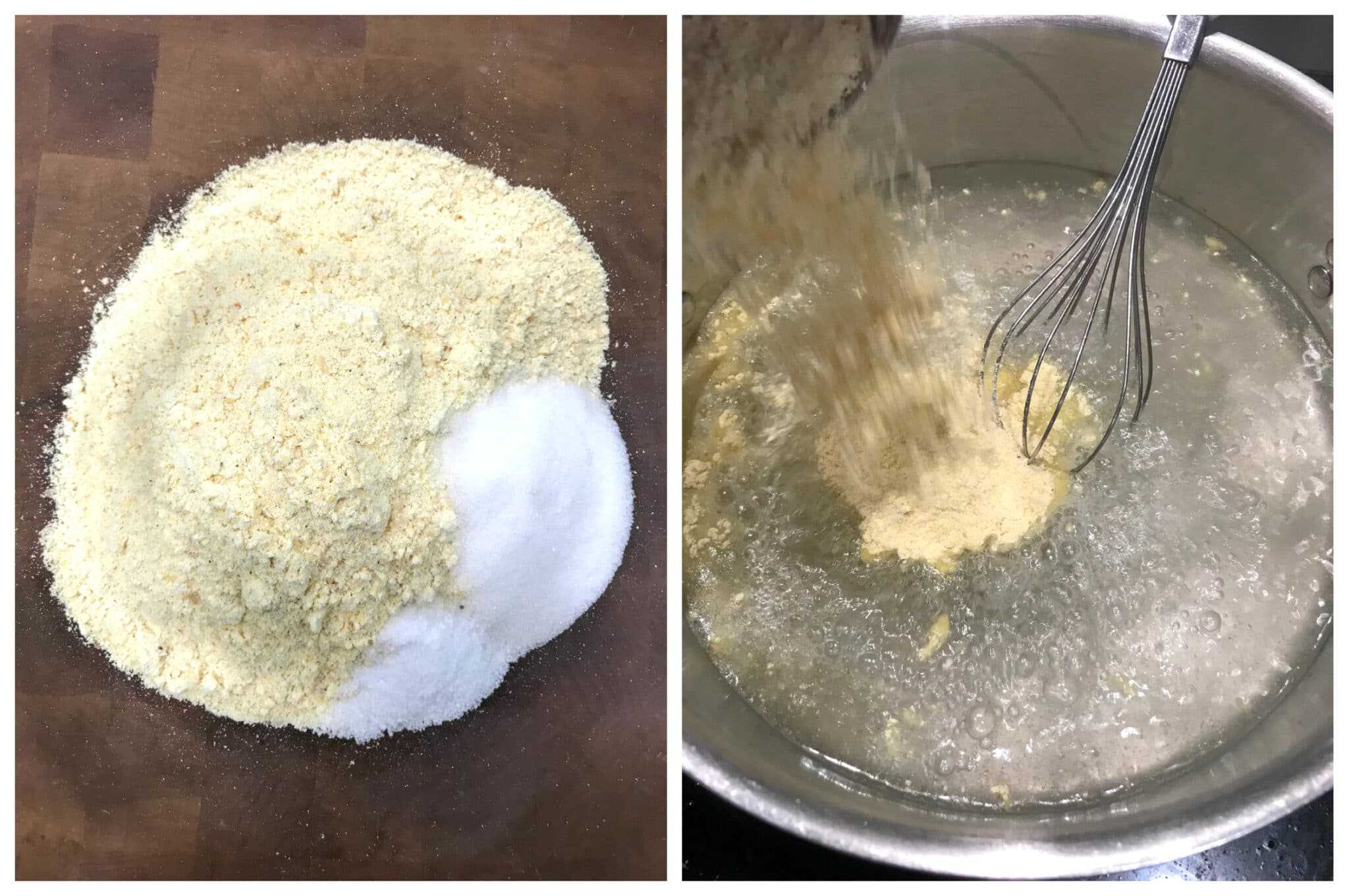 combining cornmeal with ingredients and whisking in boiling water