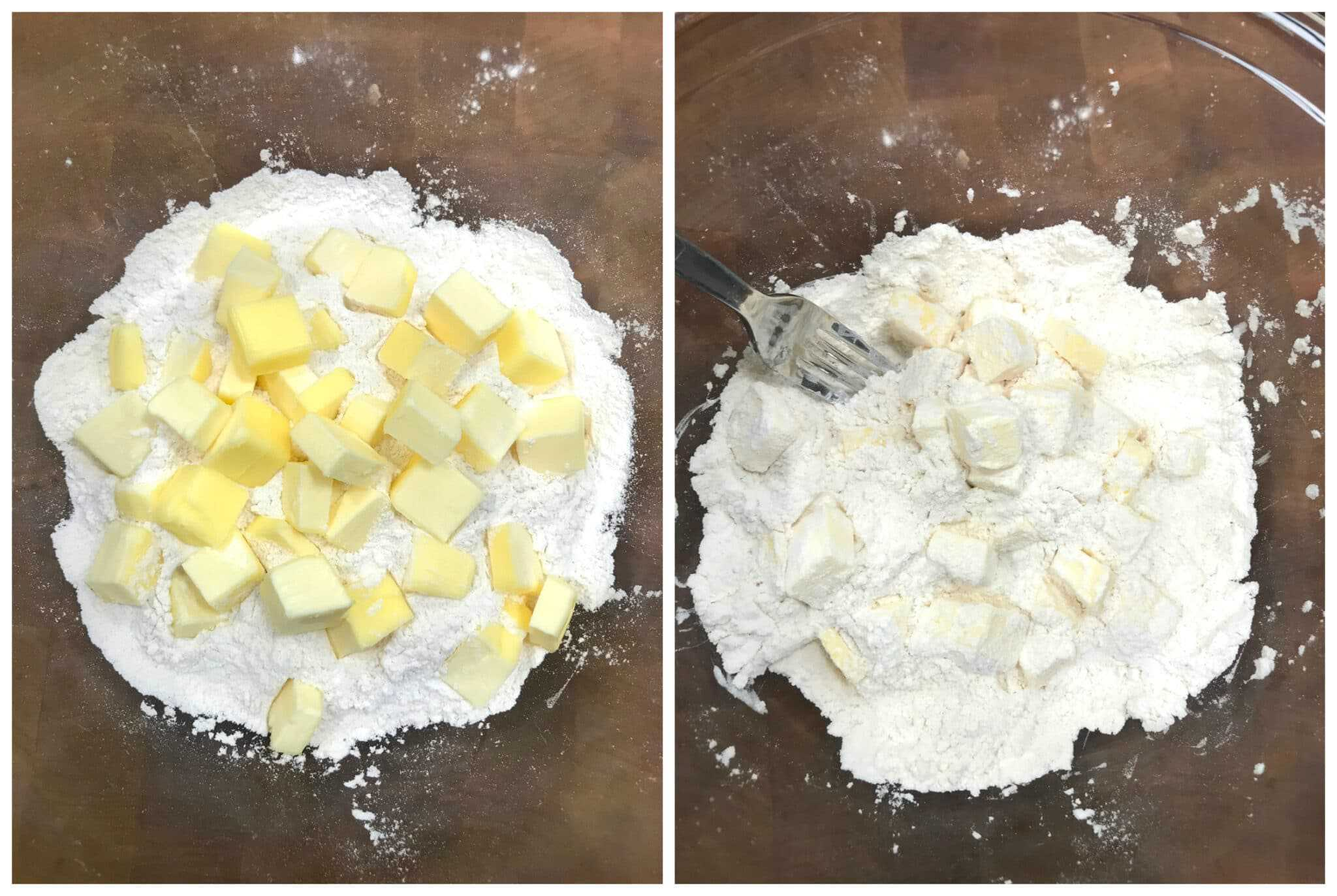 adding butter to flour