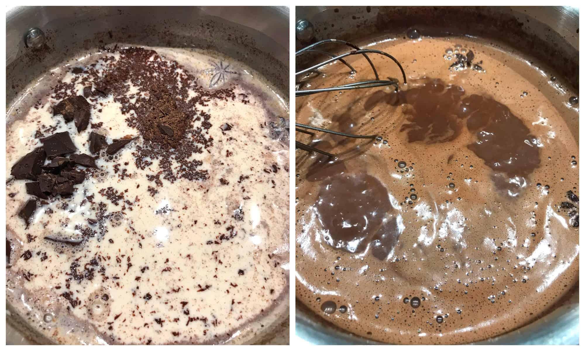 whisking mixture in saucepan