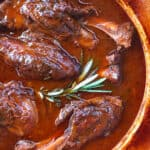 braised lamb shanks recipe classic traditional French red wine rosemary gravy