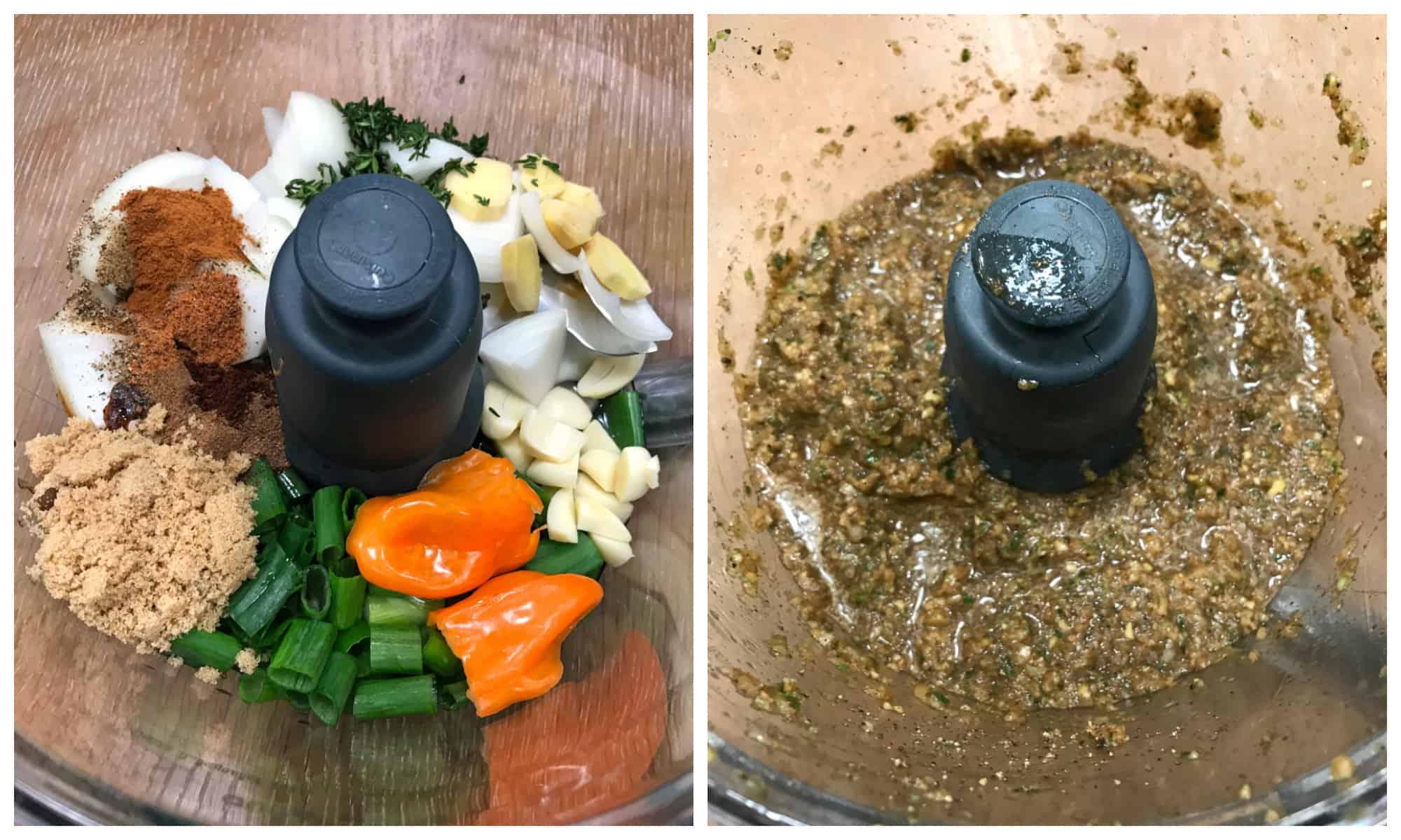 blending ingredients in a food processor