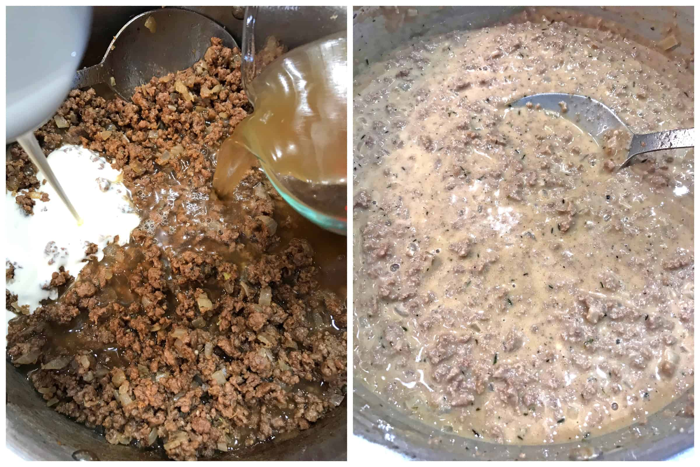 adding cream and broth to ground meat
