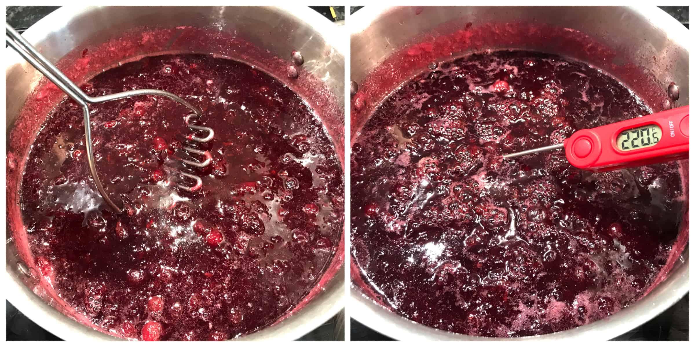 mashing gooseberries in pot