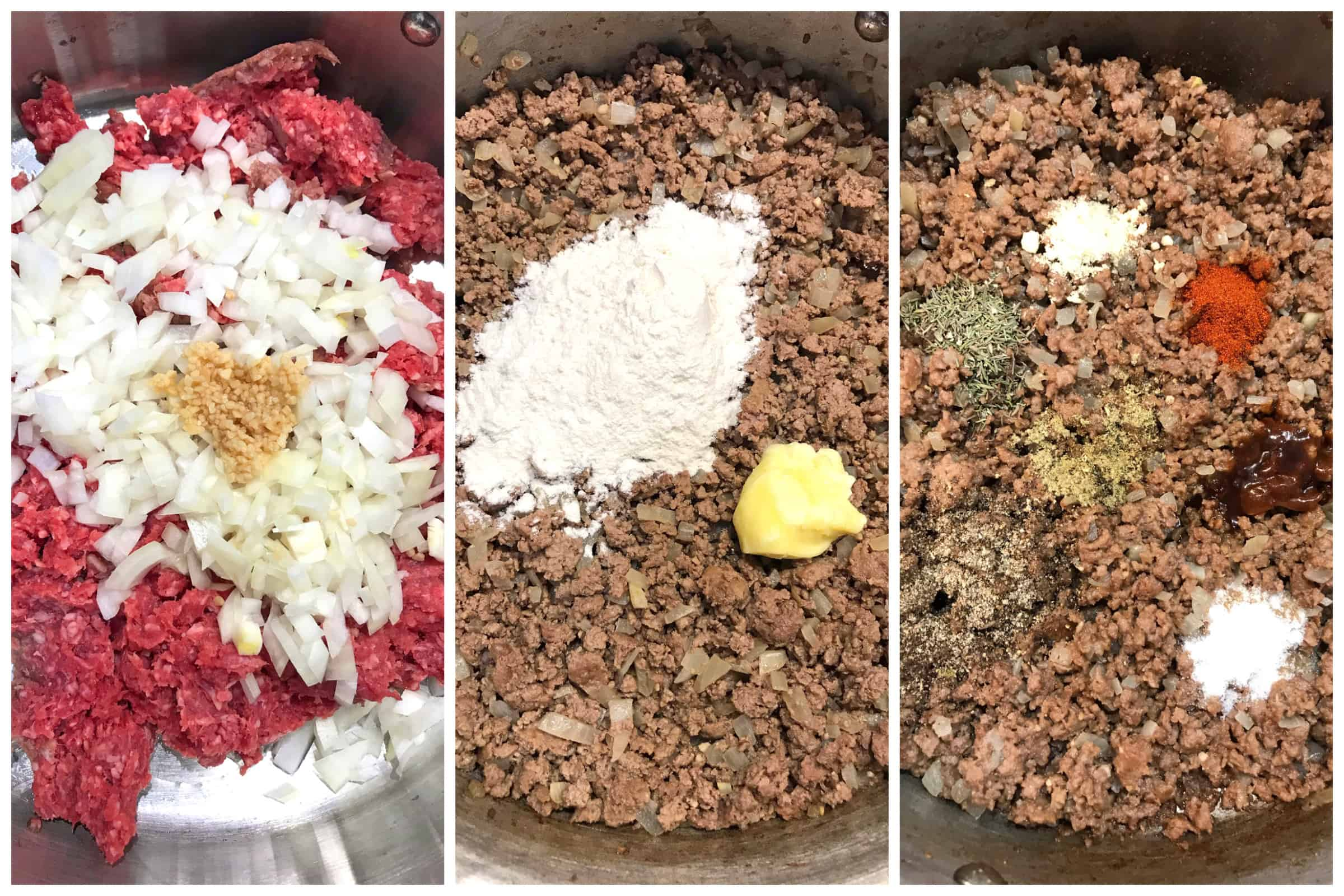 cooking ground beef with onions and spices