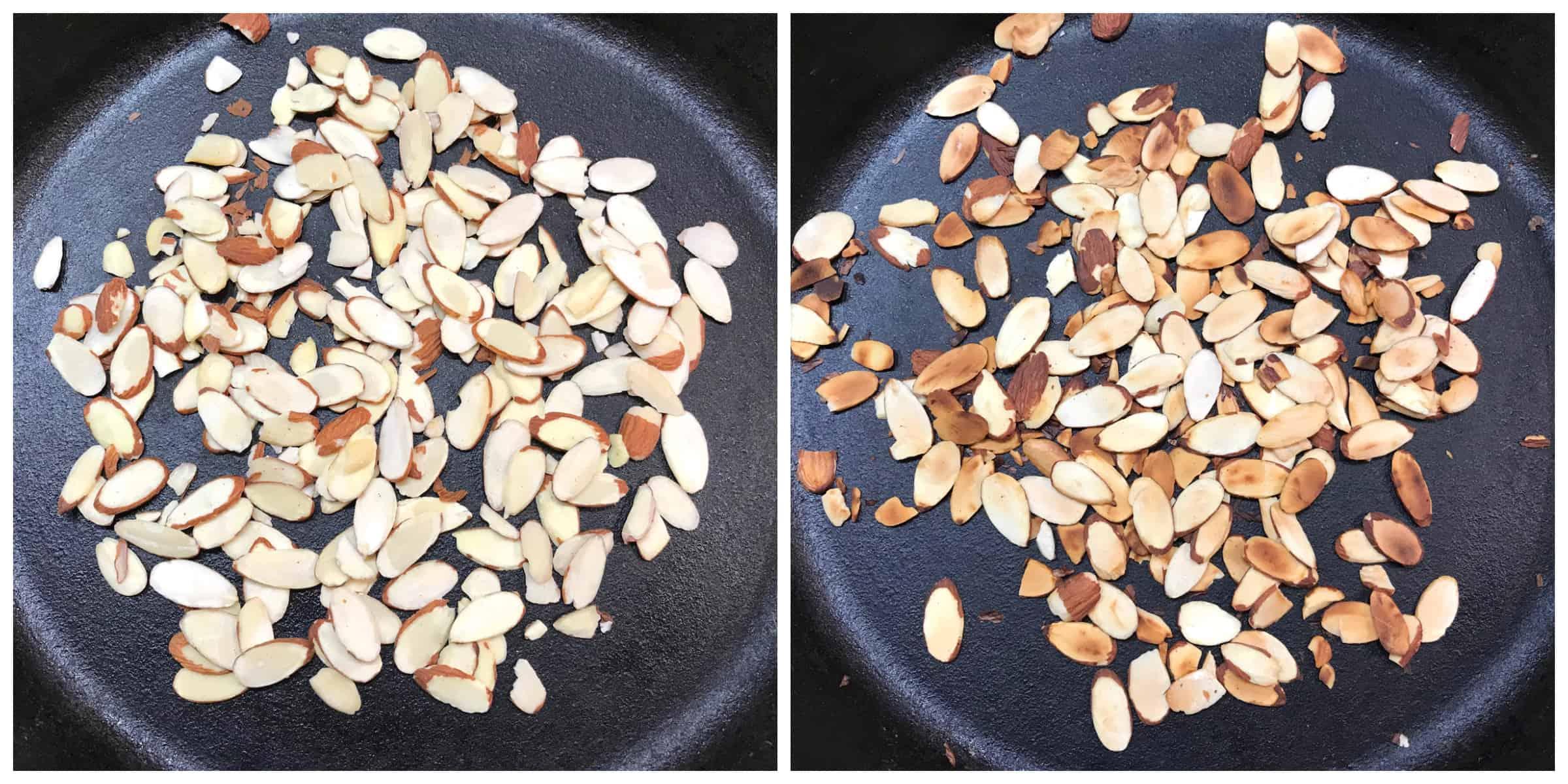 toasting sliced almonds