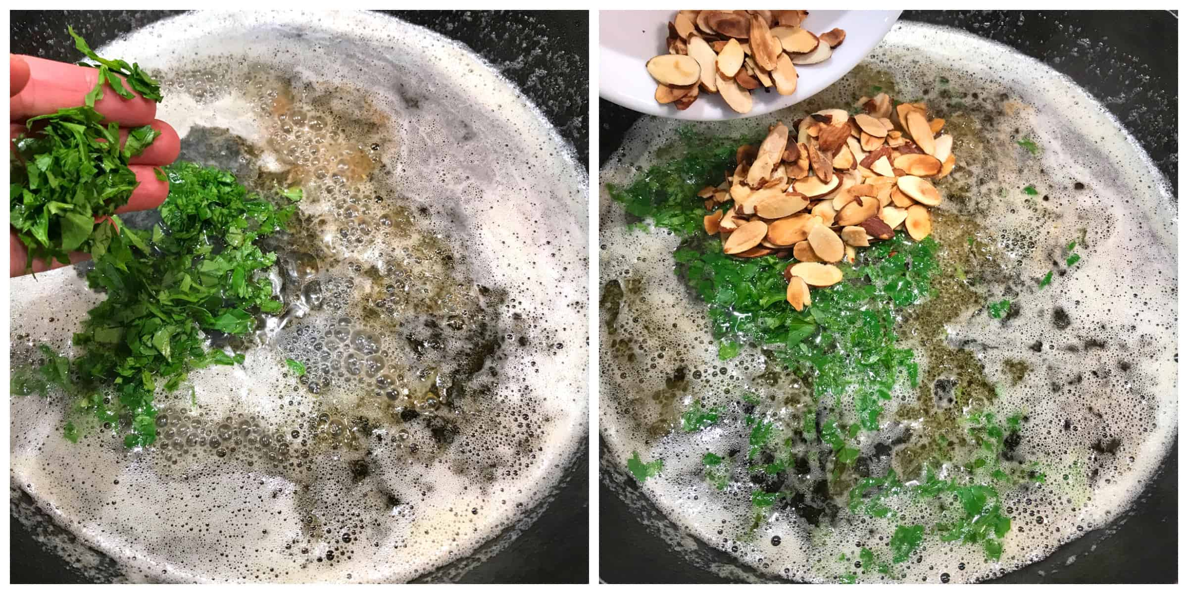 adding parsley and almonds to pan