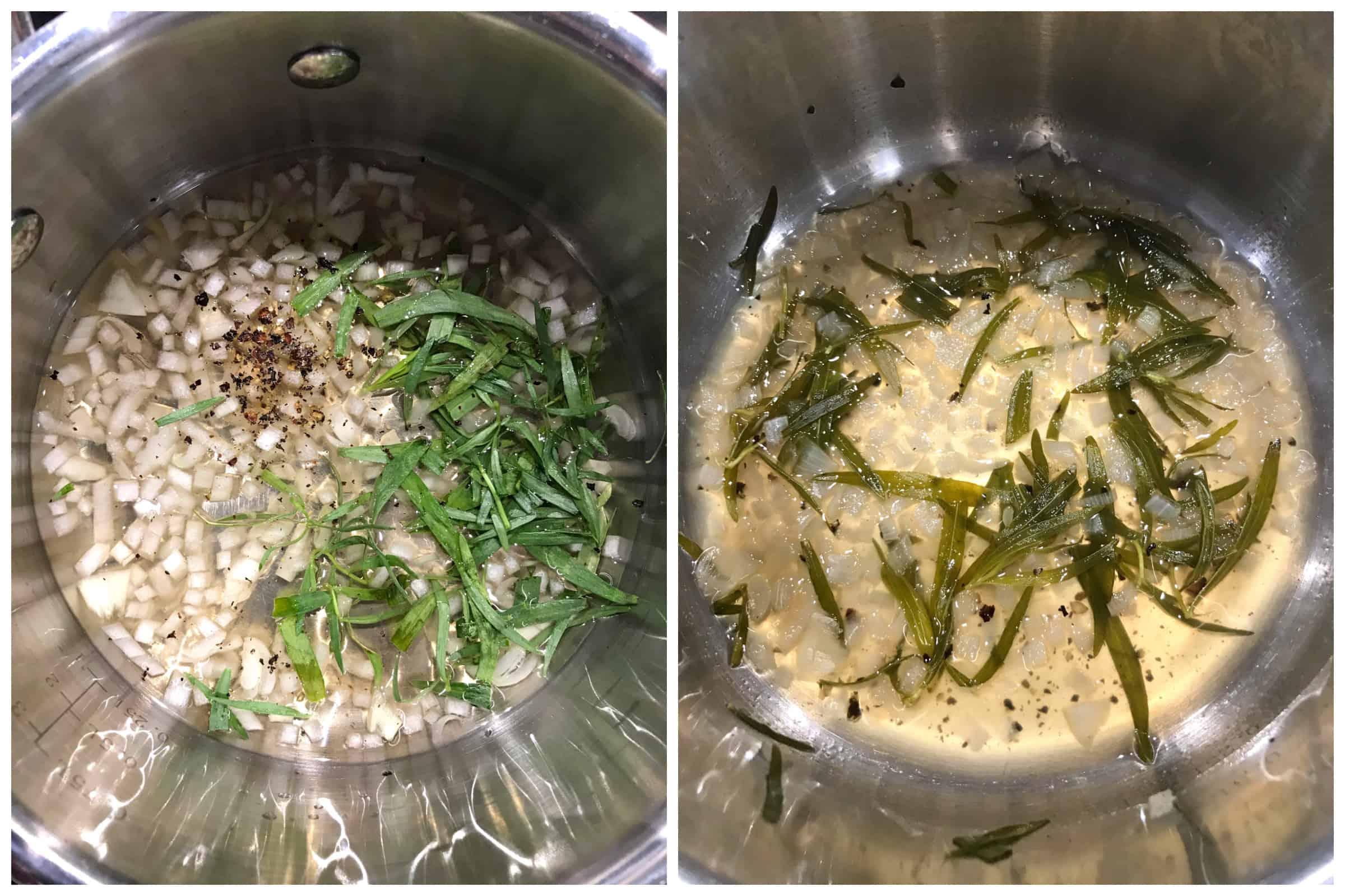 simmering ingredients in saucepan