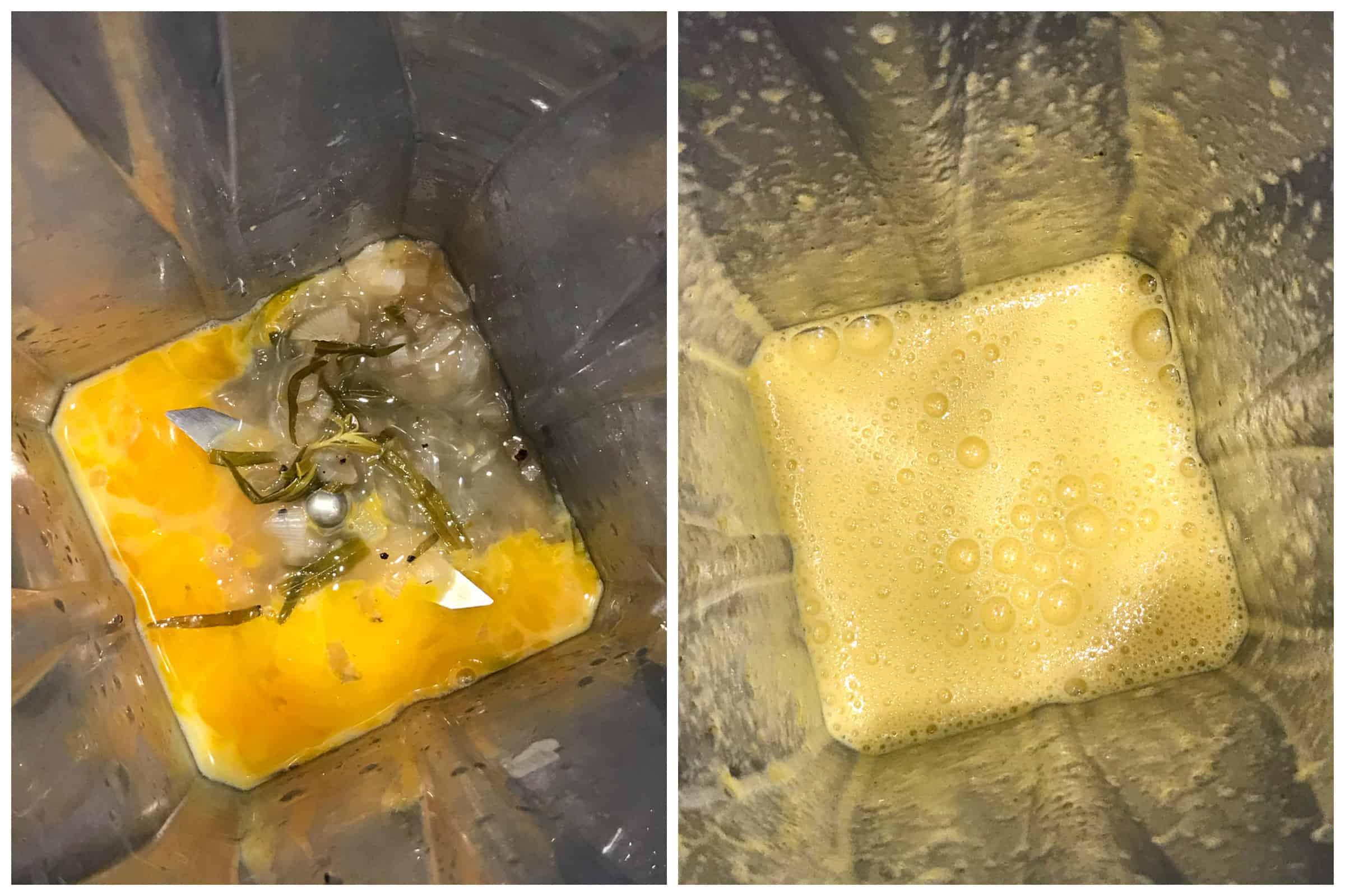 blending egg yolk mixture in blender