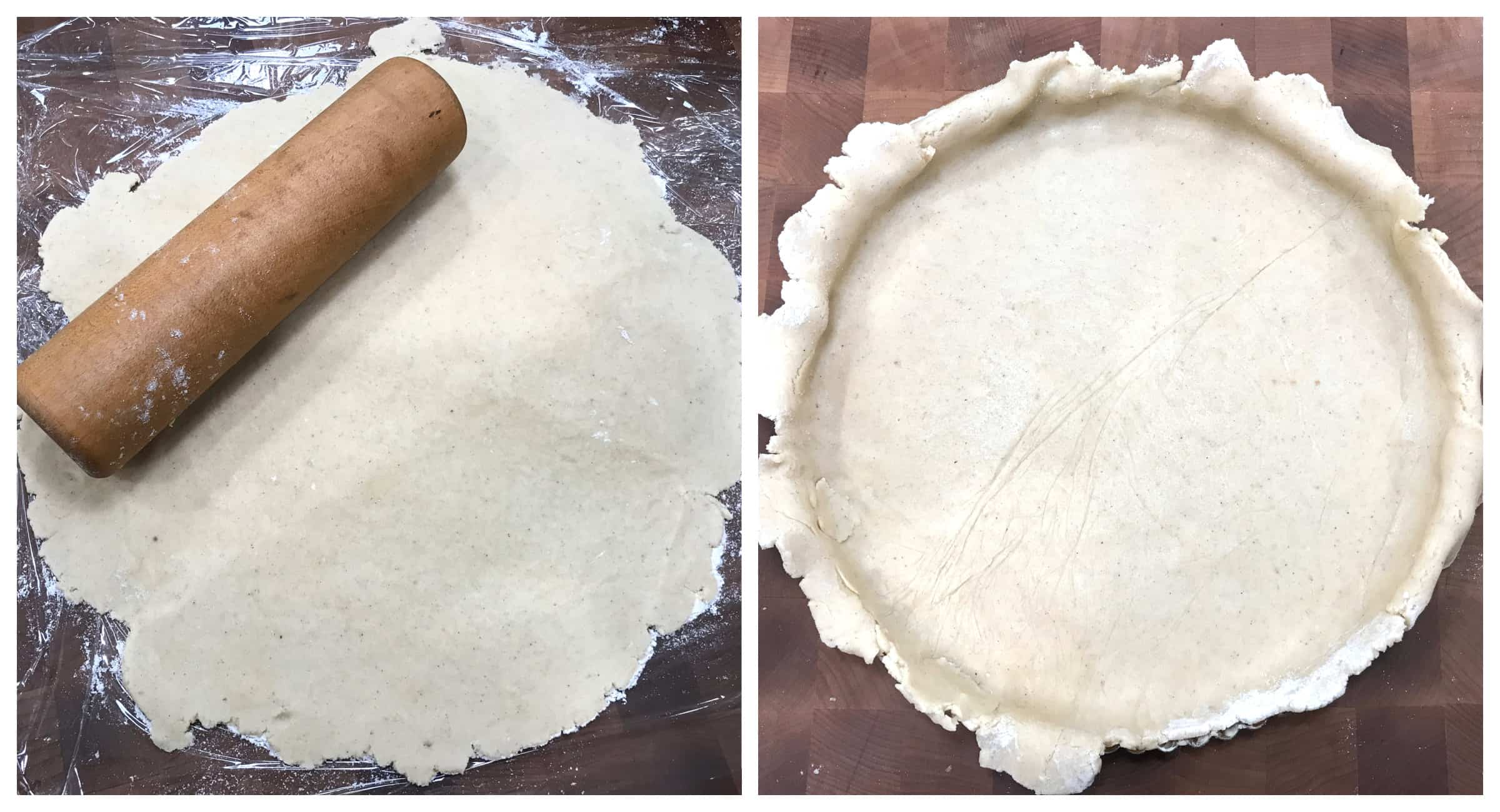 roll out dough and place in tart pan