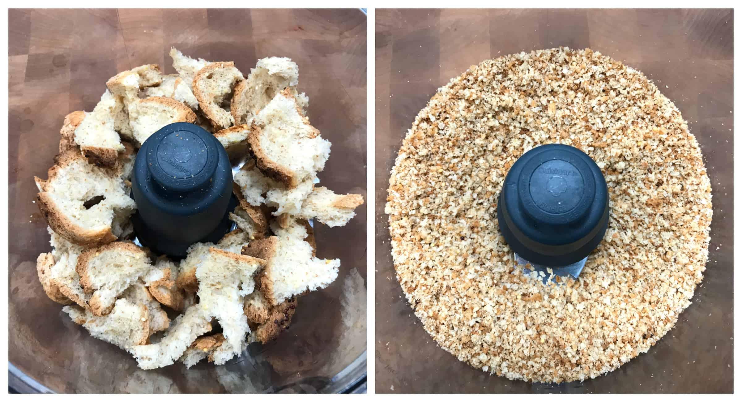 pulse bread into breadcrumbs in food processor
