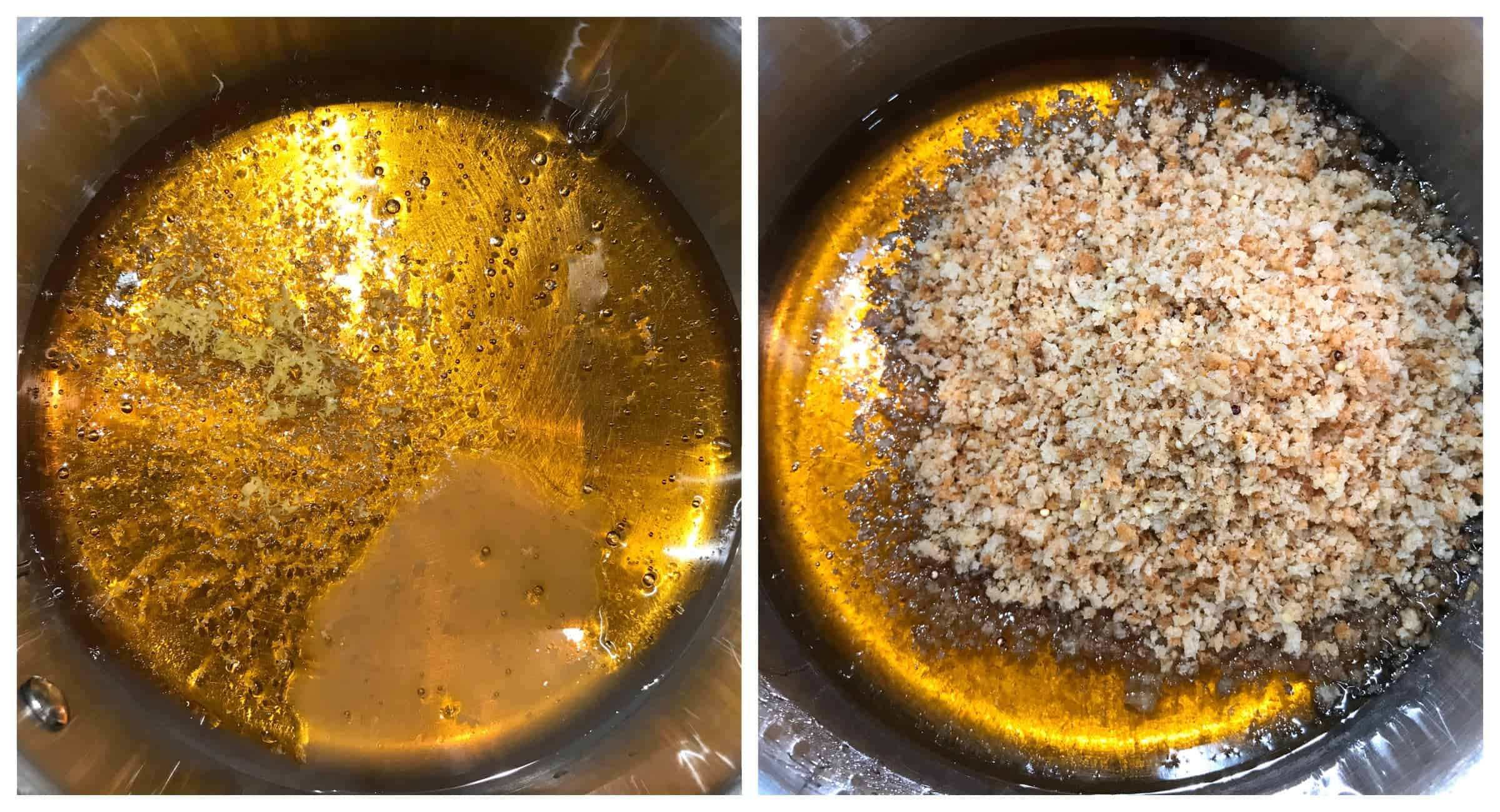 golden syrup and breadcrumbs in saucepan
