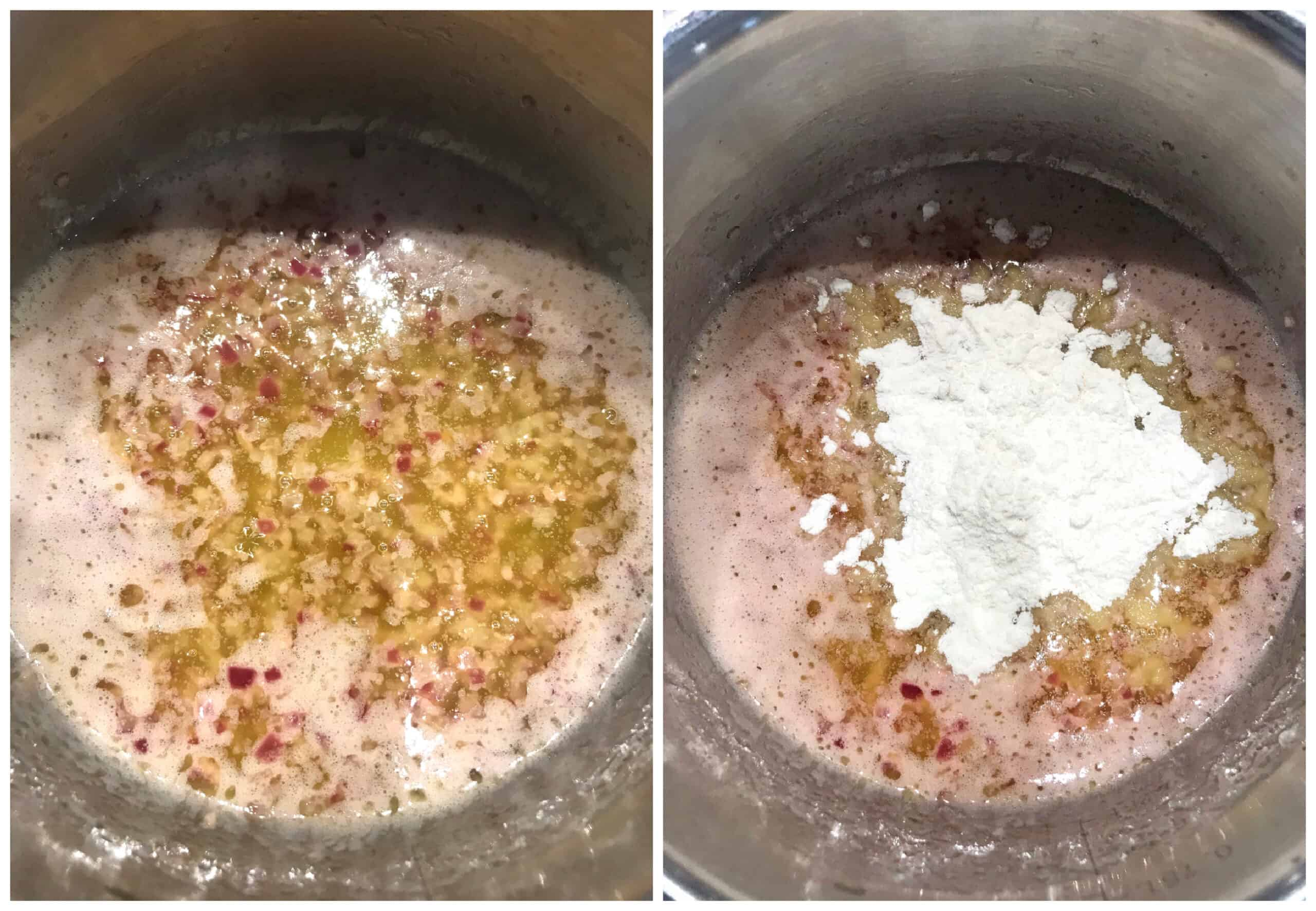 simmering ingredients in saucepan with flour