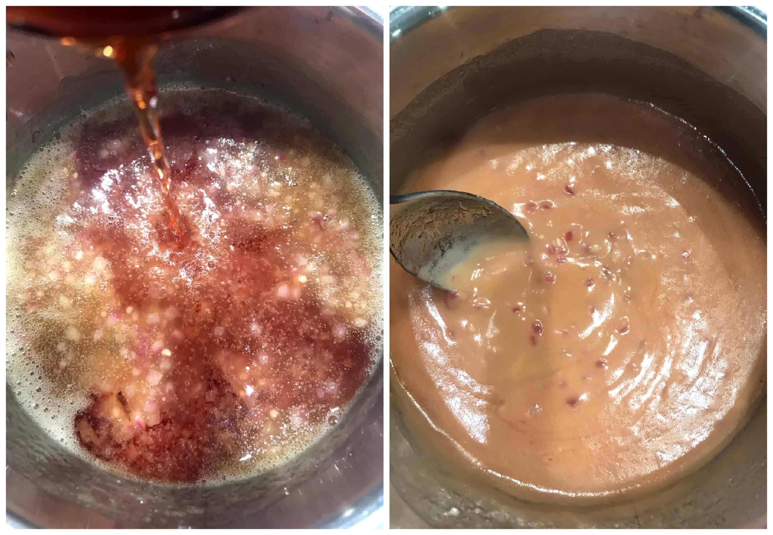 adding wine to saucepan