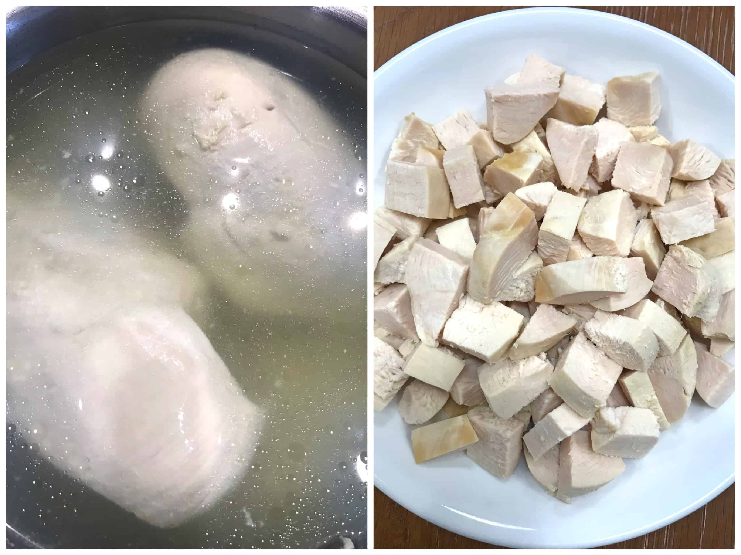 poaching and dicing chicken breast