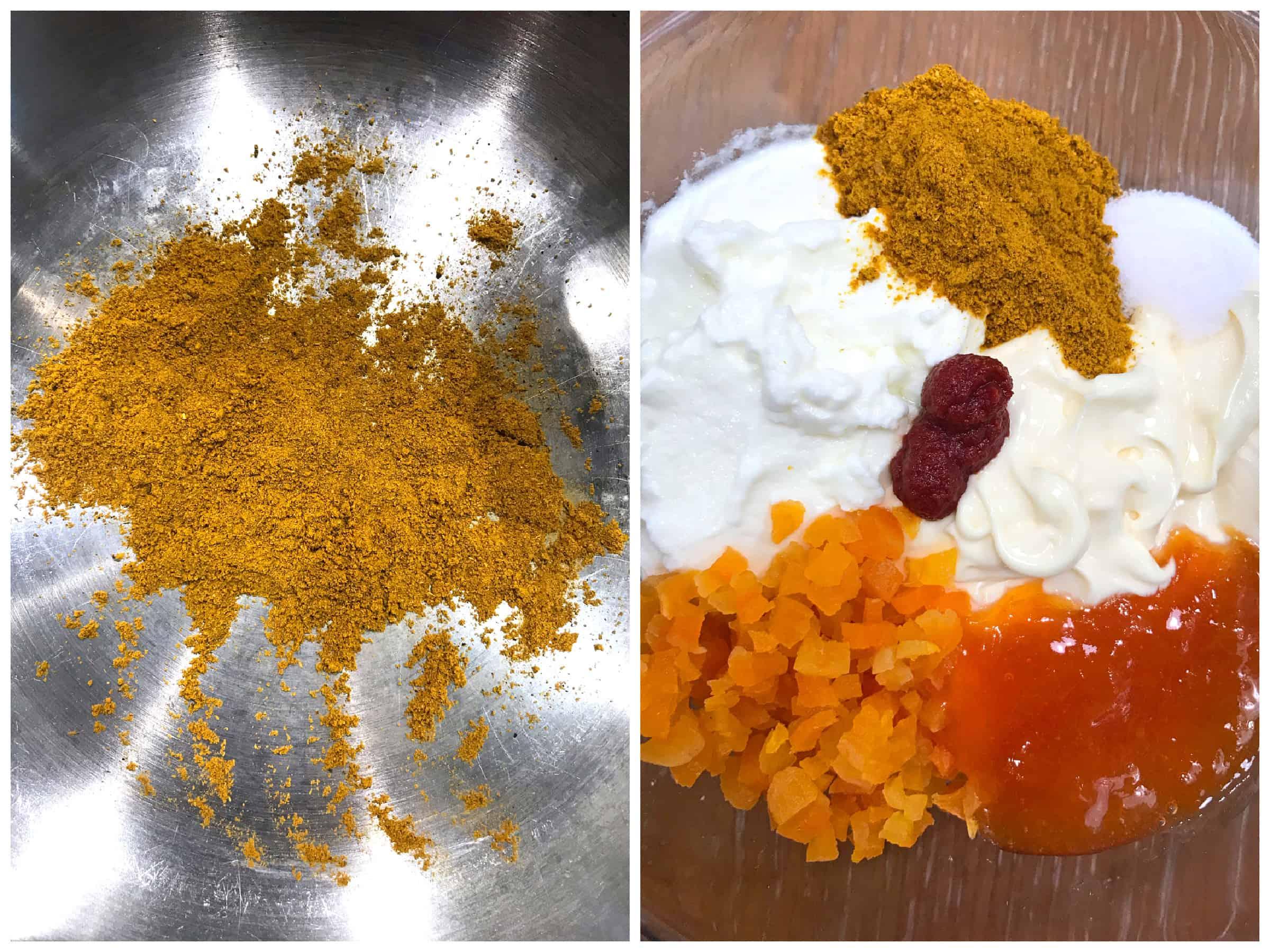 combining coronation chicken ingredients