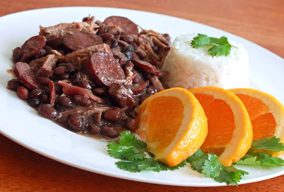 feijoada recipe Brazilian black bean stew sausage smoked meats pork beef linguica Portuguese oranges rice